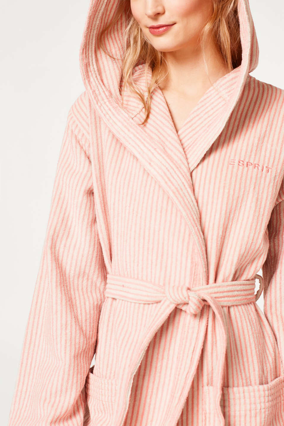 Terrycloth bathrobe in 100% cotton, OATMEAL/DUSTY, detail image number 1