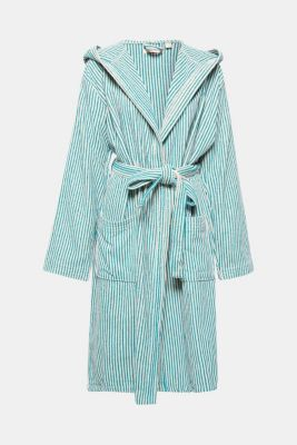 Terrycloth bathrobe in 100% cotton, OATMEAL/AQUA, detail