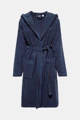 Terrycloth bathrobe in 100% cotton, BLACK/JEANS, detail