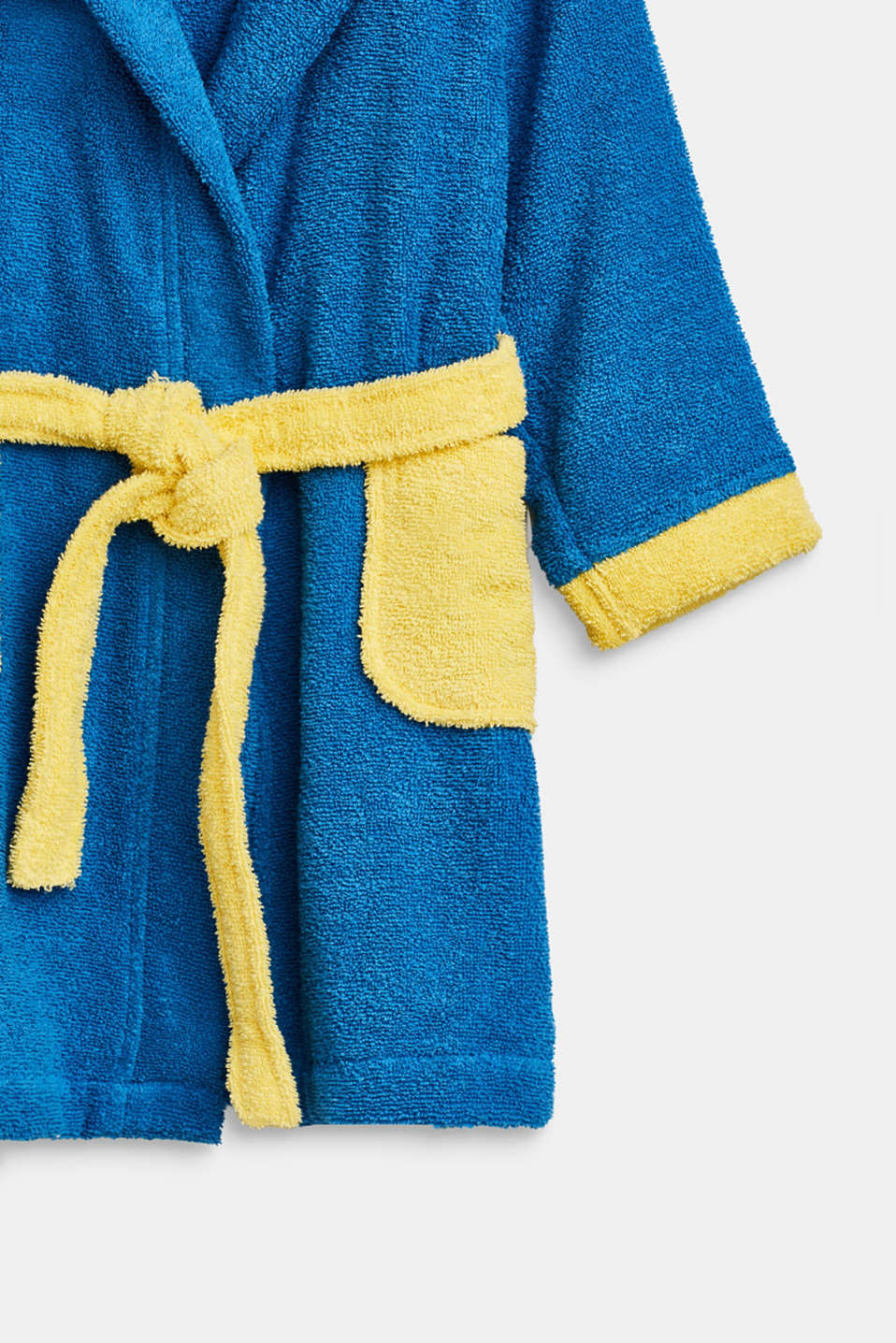 Children's bathrobe in 100% cotton, BLUE/YELLOW, detail image number 2