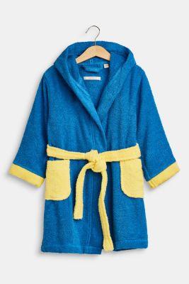 Children's bathrobe in 100% cotton, BLUE/YELLOW, detail