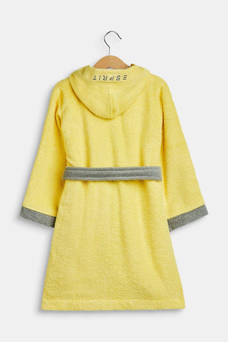 Children's bathrobe in 100% cotton, YELLOW/GREY, detail image number 1