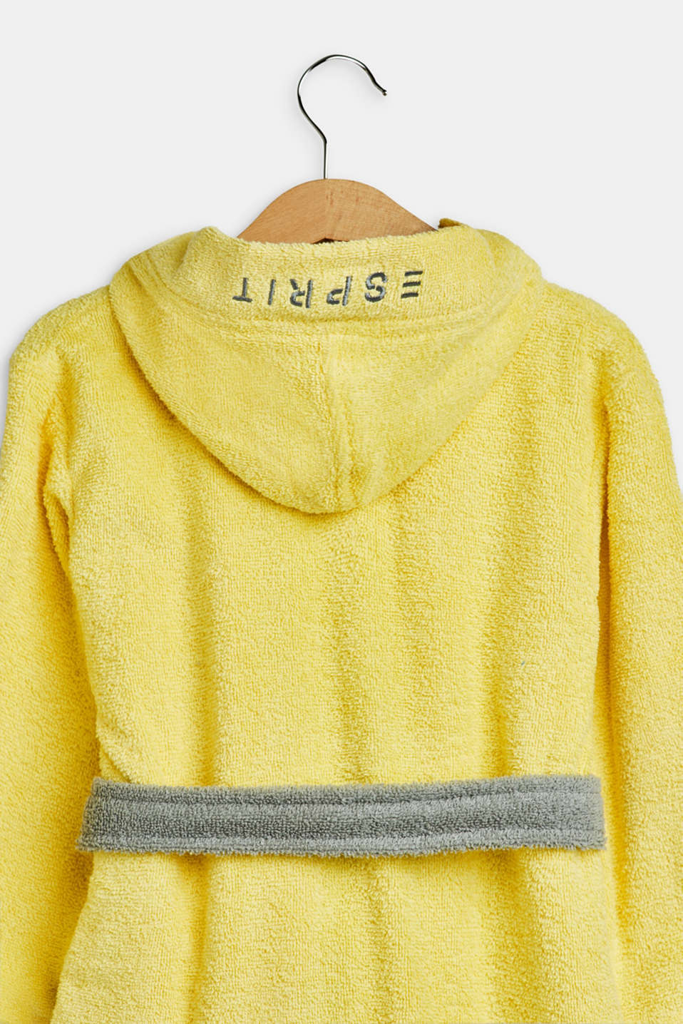 Children's bathrobe in 100% cotton, YELLOW/GREY, detail image number 2