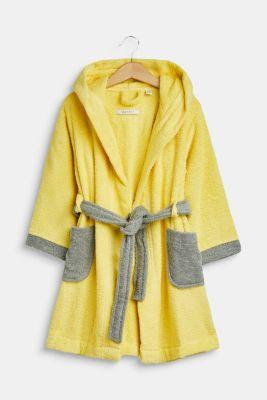 Children's bathrobe in 100% cotton, YELLOW/GREY, detail
