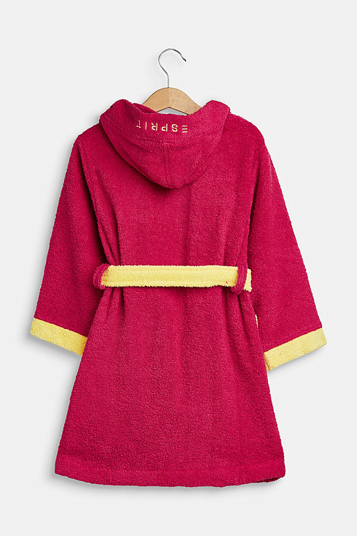 Children's bathrobe in 100% cotton, RASPBERRY/YELLOW, detail image number 1