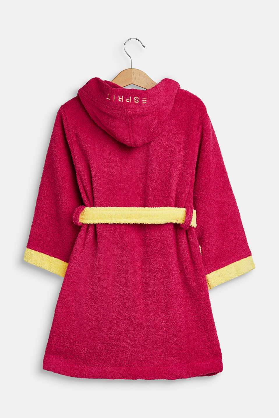 Children's bathrobe in 100% cotton, RASPBERRY/YELLOW, detail image number 1