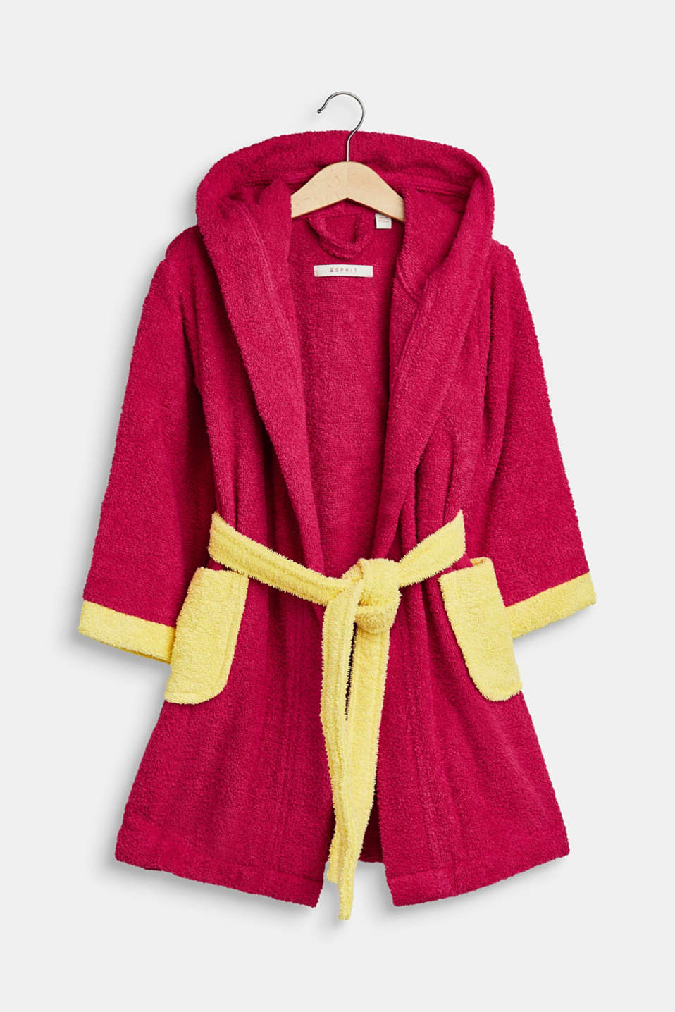 Children's bathrobe in 100% cotton, RASPBERRY/YELLOW, detail image number 0
