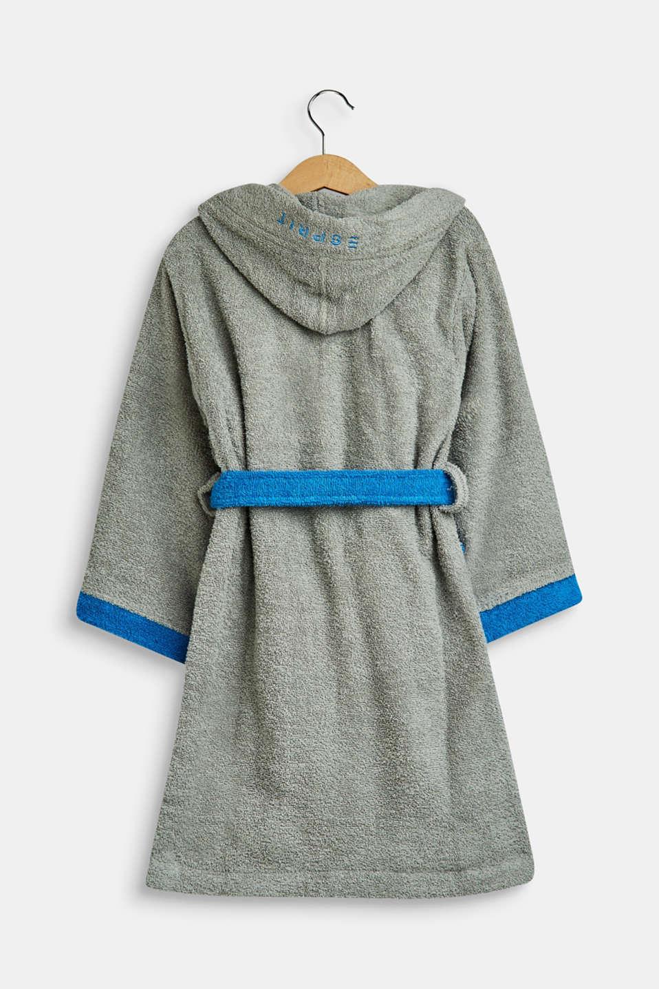 Children's bathrobe in 100% cotton, GREY/BLUE, detail image number 1