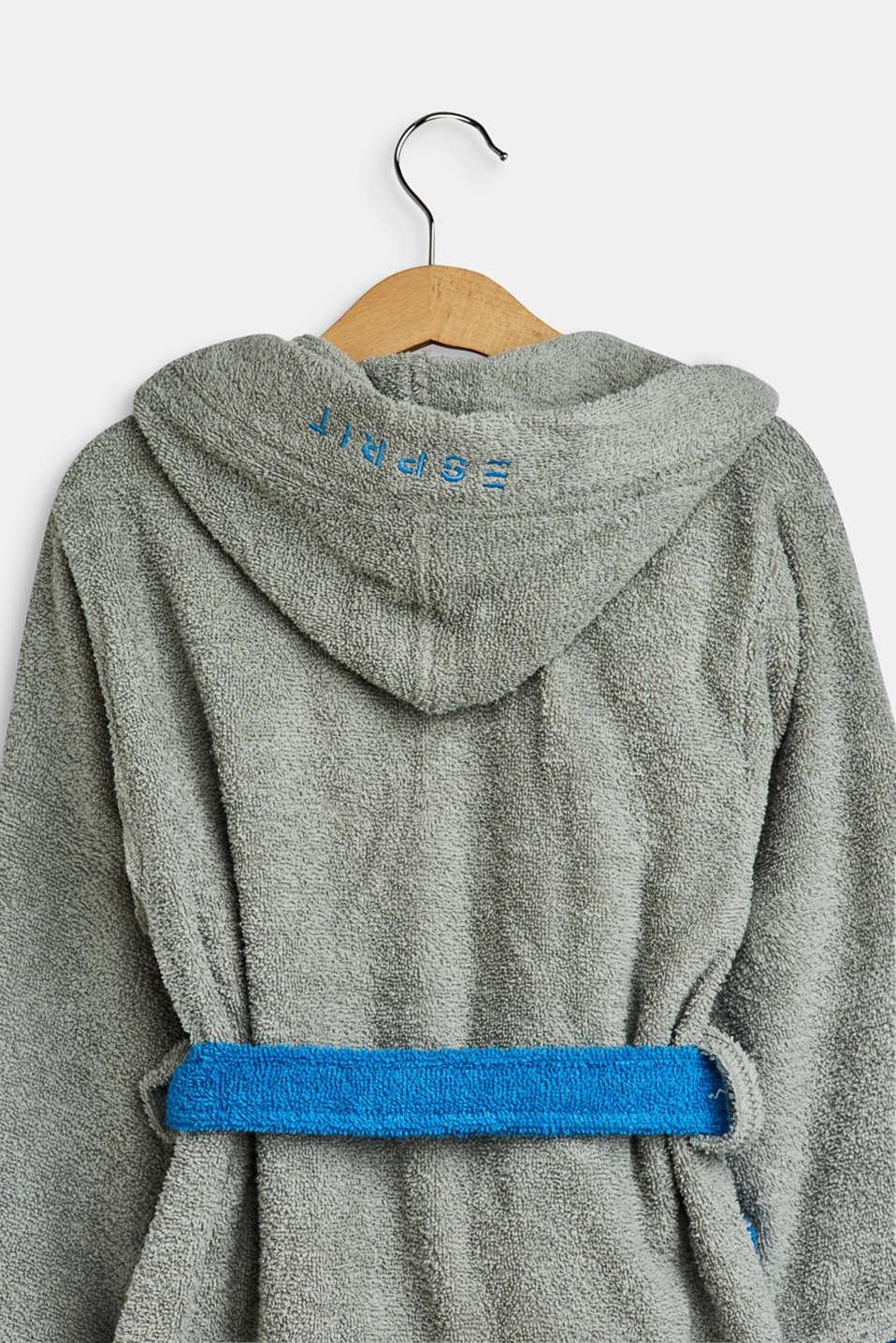 Children's bathrobe in 100% cotton, GREY/BLUE, detail image number 2