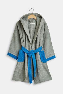 Children's bathrobe in 100% cotton, GREY/BLUE, detail