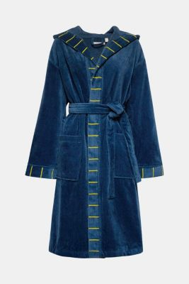 Terrycloth bathrobe in 100% cotton, JEANS/MUSTARD, detail