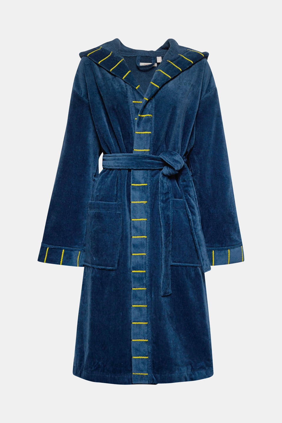 Terrycloth bathrobe in 100% cotton, JEANS/MUSTARD, detail image number 0