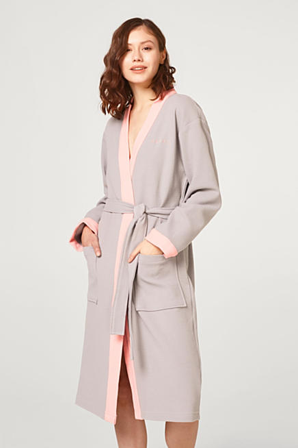 51a4085526 Cotton bathrobe with a waffle pattern