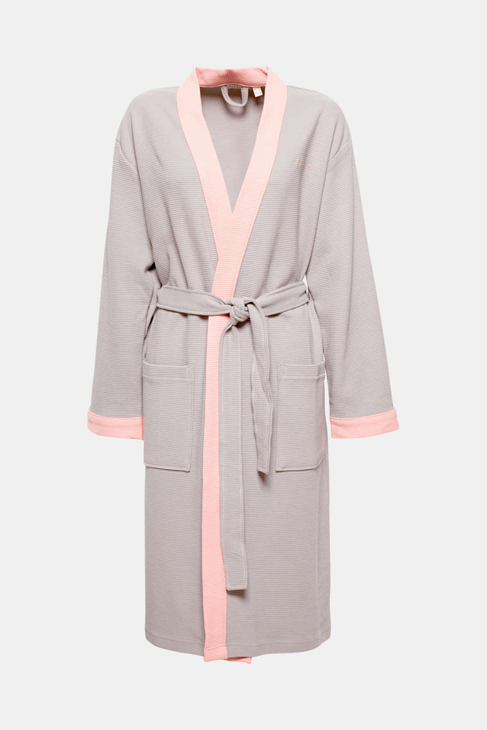Esprit - Cotton bathrobe with a waffle pattern