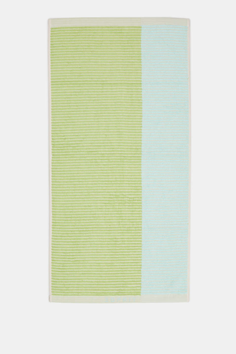 Textured stripe towel, 100% cotton, OATMEAL/LIME/BLUE, detail image number 2