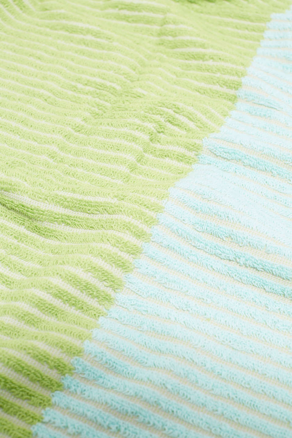 Textured stripe towel, 100% cotton, OATMEAL/LIME/BLUE, detail image number 1