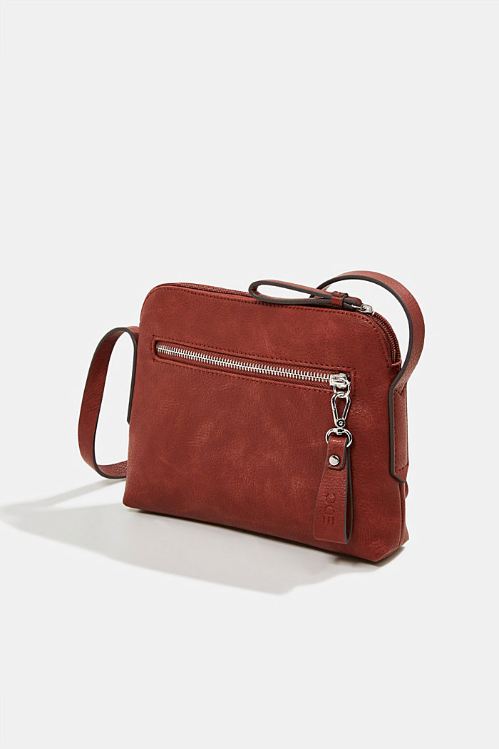 Vegan: faux leather shoulder bag, TERRACOTTA, detail image number 2
