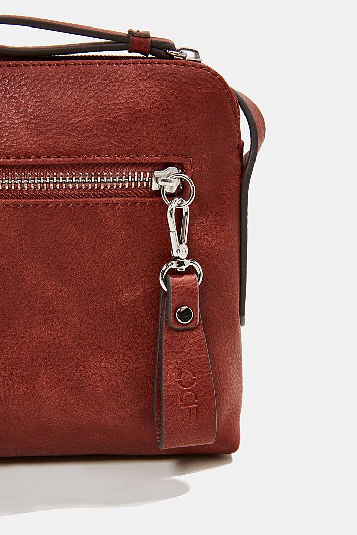 Vegan: faux leather shoulder bag, TERRACOTTA, detail image number 3