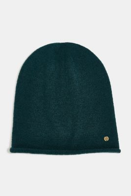 Beanie with a rolled edge, DARK TEAL GREEN, detail
