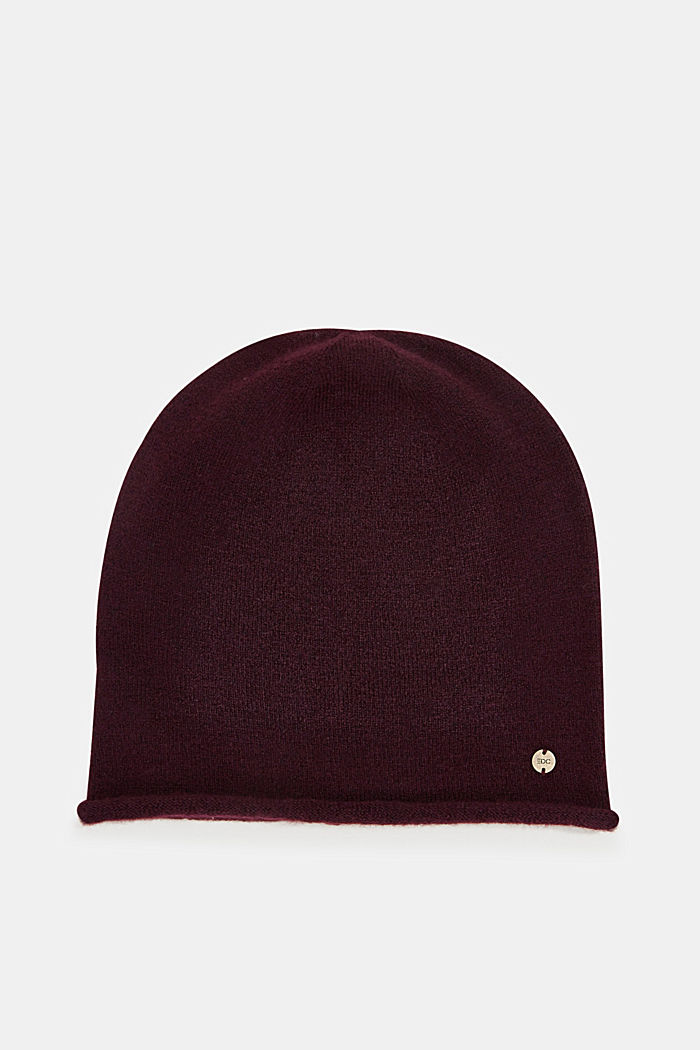 Beanie with a rolled edge, AUBERGINE, detail image number 0