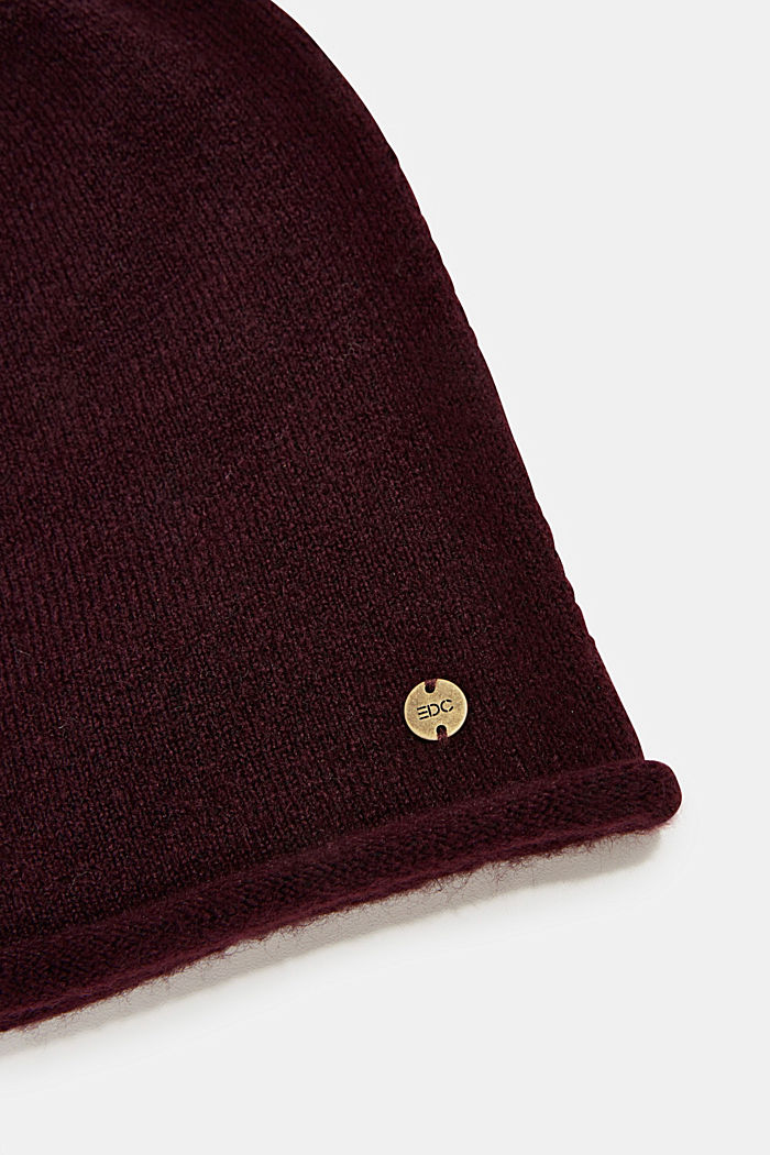 Beanie with a rolled edge, AUBERGINE, detail image number 1