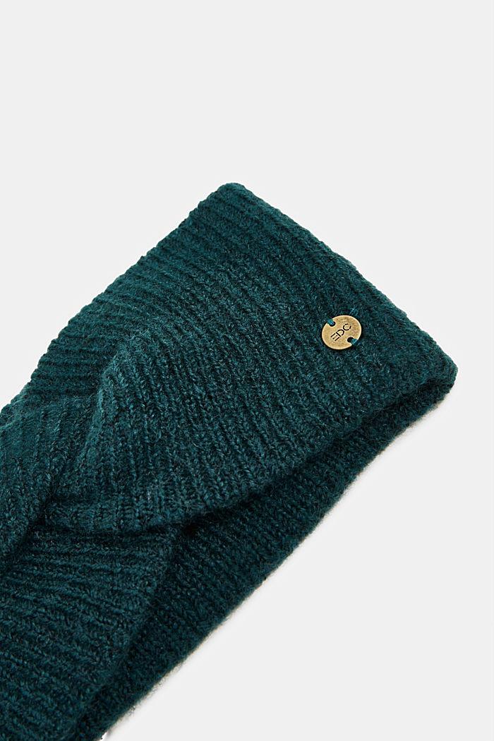 Recycelt: Stirnband mit Knoten-Effekt, DARK TEAL GREEN, detail image number 1