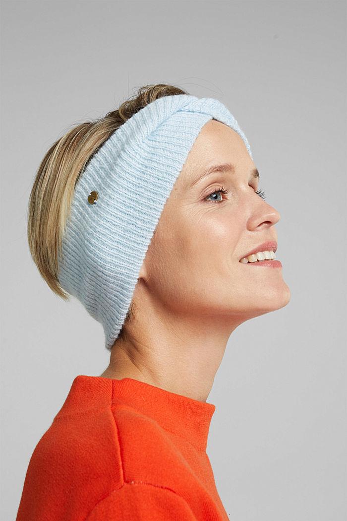 Recycelt: Stirnband mit Knoten-Effekt, PASTEL BLUE, detail image number 2