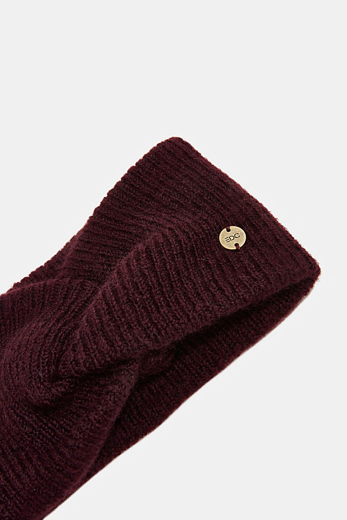 Recycled: Headband with knot effect, AUBERGINE, detail image number 1