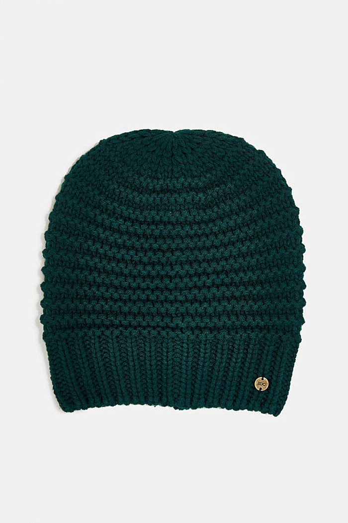 Recycled: textured knit pattern, DARK TEAL GREEN, overview