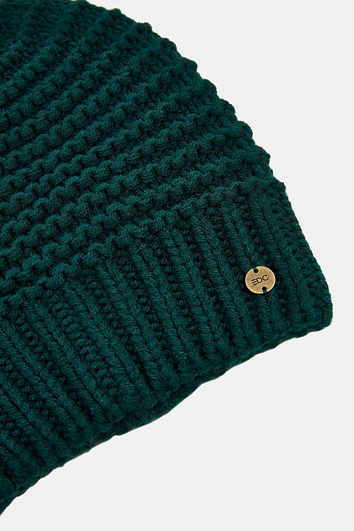 Recycled: textured knit pattern, DARK TEAL GREEN, detail image number 1