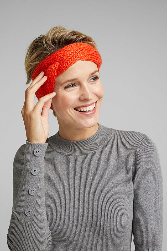 Recycled: headband with a braided detail, ORANGE, detail image number 2