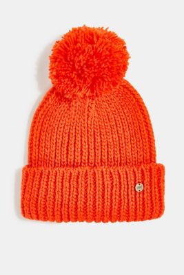 Recycled: knitted hat with a pompom, ORANGE, detail