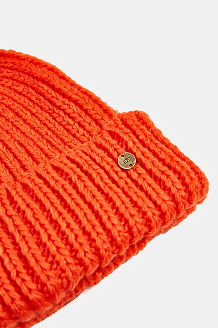 Recycled: knitted hat with a pompom, ORANGE, detail image number 1