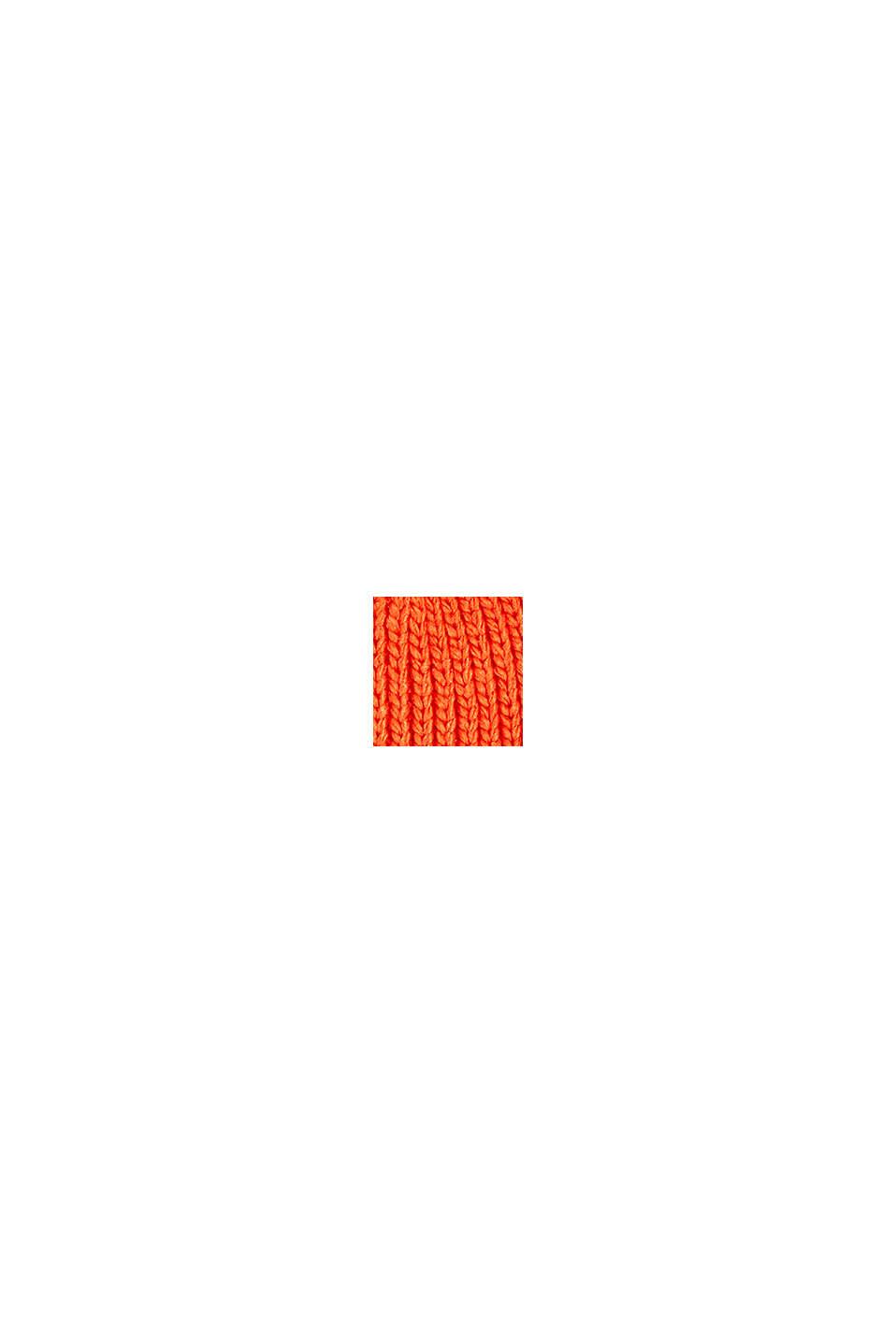 Återvunnet material: Stickad mössa med tofs, ORANGE, swatch