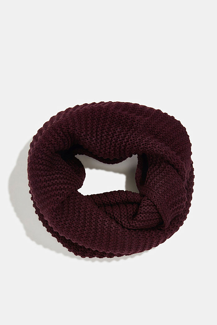 Recycled: textured snood scarf, AUBERGINE, overview