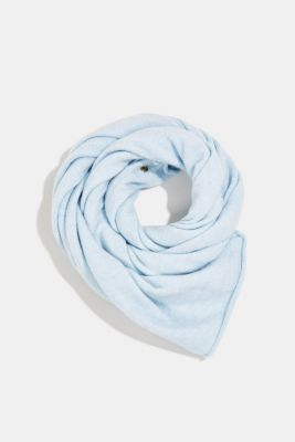 Recycled: Knitted scarf made of blended yarn, PASTEL BLUE, detail