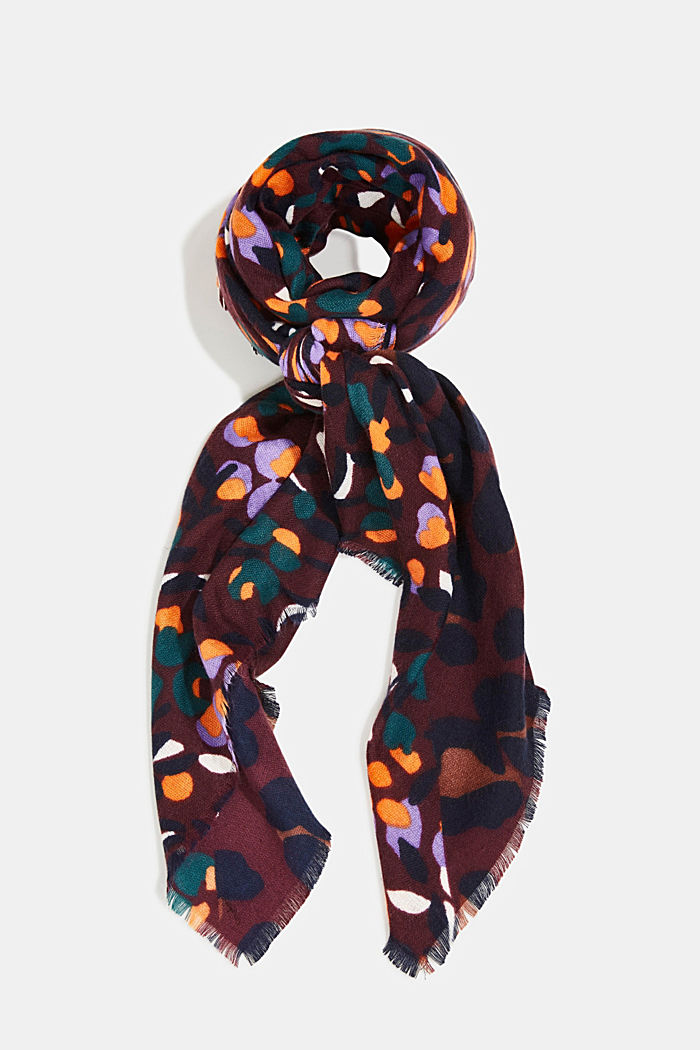 Recycled: woven scarf with a mix of patterns, AUBERGINE, detail image number 0