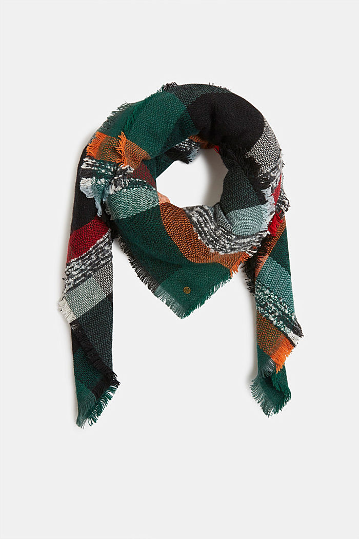 Recycled: square scarf with a check pattern, DARK TEAL GREEN, detail image number 0