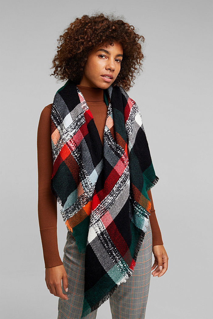 Recycled: square scarf with a check pattern, DARK TEAL GREEN, detail image number 1