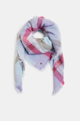Recycled: square scarf with a check pattern, PASTEL BLUE, detail