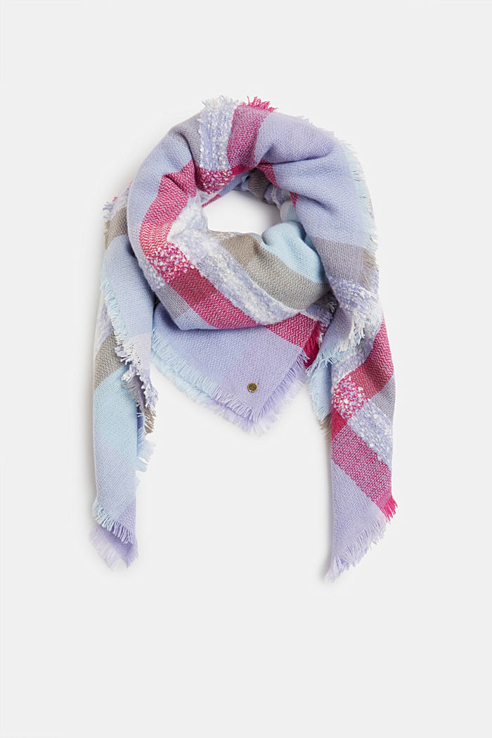 Recycled: square scarf with a check pattern, PASTEL BLUE, detail image number 0
