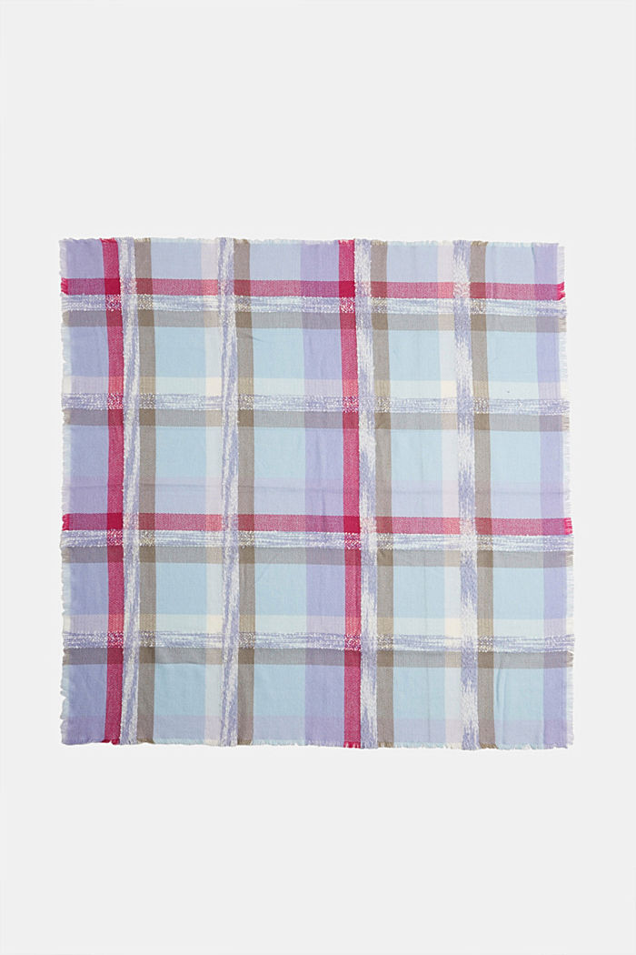 Recycled: square scarf with a check pattern, PASTEL BLUE, detail image number 3