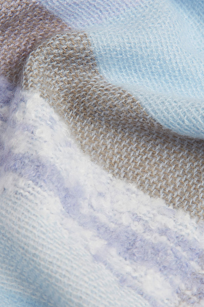 Recycled: square scarf with a check pattern, PASTEL BLUE, detail image number 2