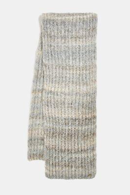 Wool blend: scarf in a melange finish, GREY, detail