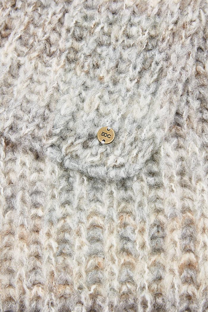 Wool blend: scarf in a melange finish, GREY, detail image number 2