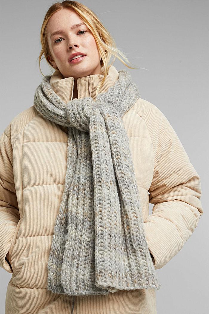 Wool blend: scarf in a melange finish, GREY, detail image number 1