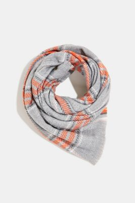 Recycled: scarf with a woven check, MEDIUM GREY, detail