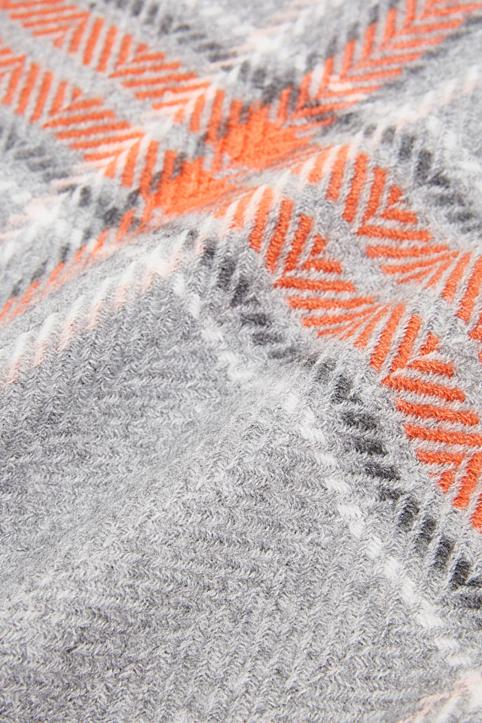 Recycled: scarf with a woven check, MEDIUM GREY, detail image number 2