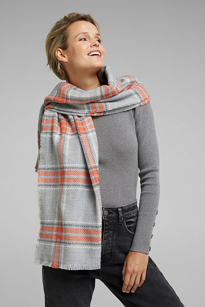 Recycled: scarf with a woven check, MEDIUM GREY, detail image number 1