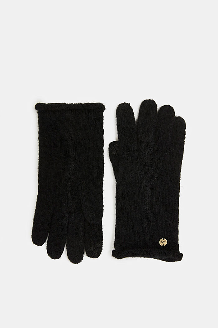 Recycled: knit touchscreen gloves, BLACK, detail image number 0
